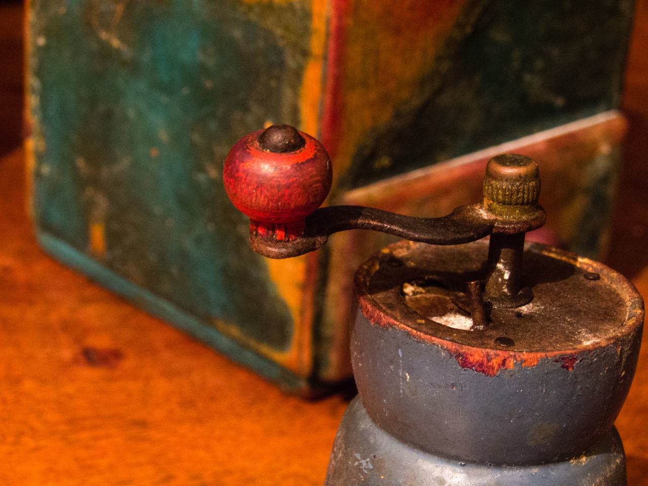 Close-Up Of Coffee Grinder On Table