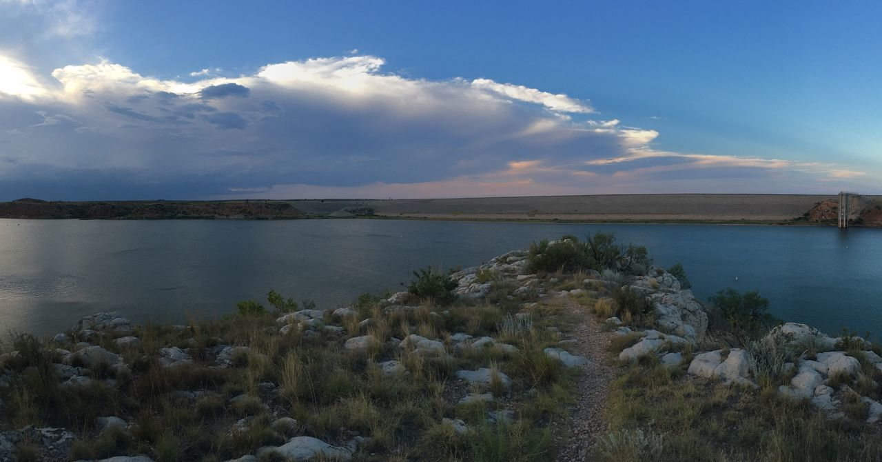 lake meredith texas fritch borger amarillo Water Tranquil Scene Tranquility Scenics Rock - Object Beauty In Nature Sea Sky Blue Nature Cloud Calm Non-urban Scene Ocean Cloud - Sky Seascape Day Stone Rock Formation