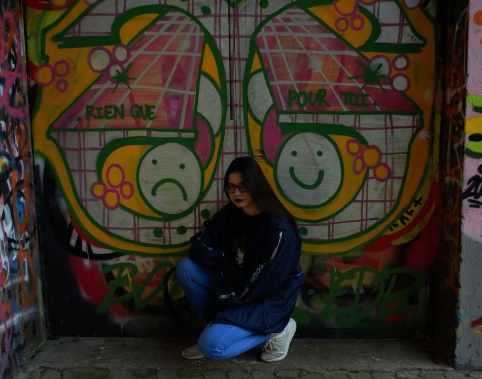 Multi Colored Young Women Graffiti Blue Street