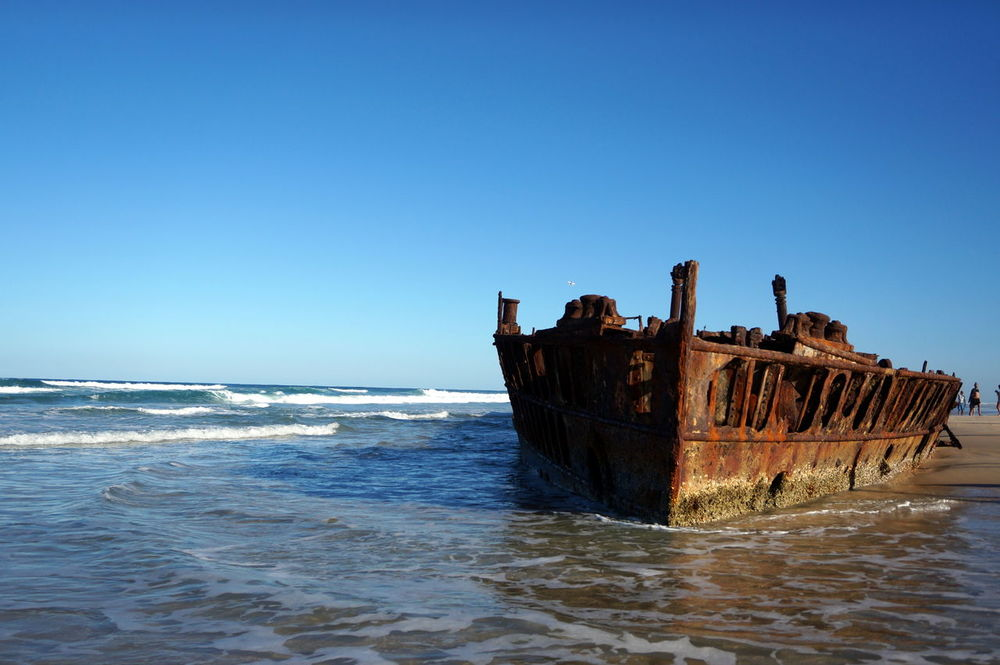 Abandoned Abandoned & Derelict Australian Landscape Beach Beauty In Nature Derelict Derelict & Abandoned Fraser Island Maheno Shipwreck Obsolete Outdoors Rusty Rustygoodness Sea Ship Shipwreck Sky Travel Destinations Travel Photography Water Wreck