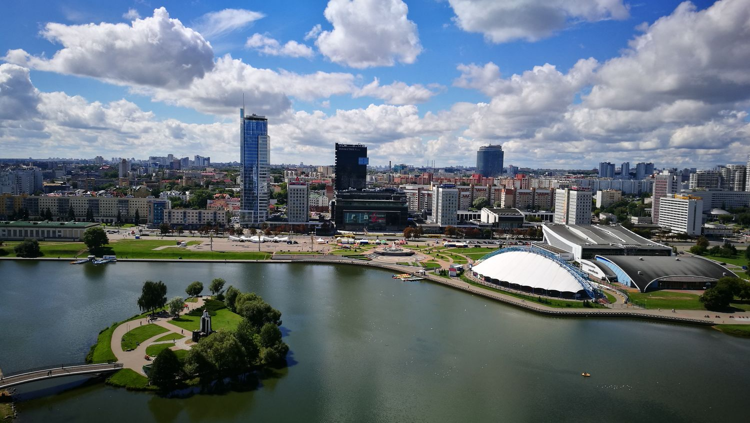 Minsk Belarus Panorama Минск Беларусь Huawei P9 City Sky Travel Destinations Cloud - Sky Water Минск First Eyeem Photo City Life Auto Post Production Filter Boat Waterfront Mode Of Transport Nautical Vessel