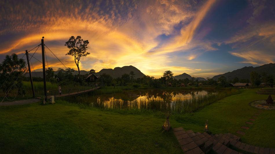Sunset Time Beauty In Nature Blue Sky Cloud - Sky Clouds And Sky Golden Hour Grass Kaoyai Landscape Mountain Nature Orange Sky Panaroma Photography Pond Saraburi Sky Sunset Thailand Tree