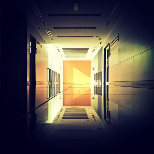 Absence Architecture Building Built Structure Closed Corridor Dark Day Diminishing Perspective Empty Illuminated Modern Narrow No People The Way Forward