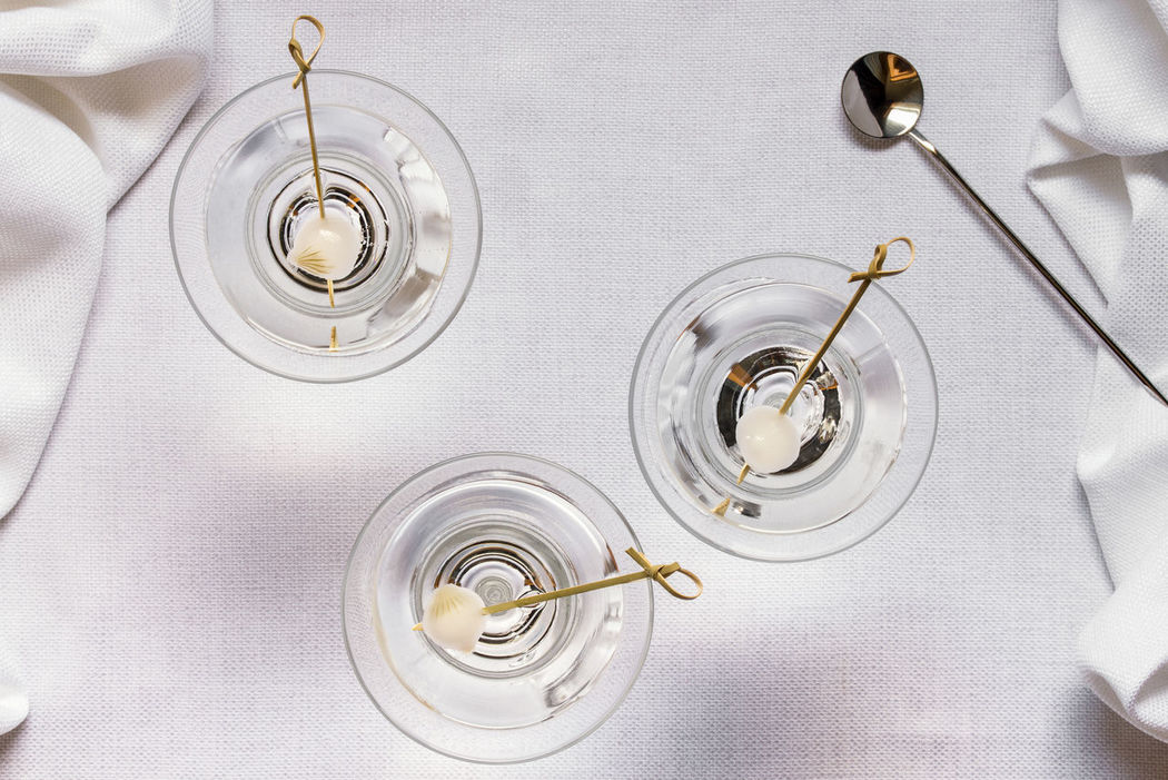 martinis Adult Beverage Classy Close-up Cocktail Directly Above Drink High Angle View Libation Martinis Pearl Onions Sophisticated Stemware Top View White Linen