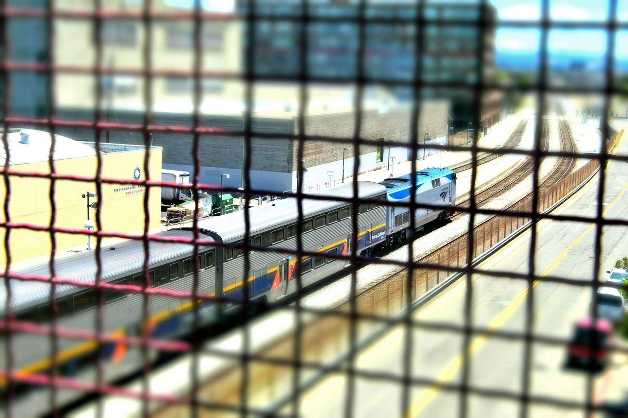 Train Station Catwalk 3 Jack London Square Port Of Oakland, Ca. Union Pacific Railroad Railroad Overpass Overpass View Tracks Catwalk Over Tracks Amtrak Train Warehouses Office Buildings Distortion Distorted View Trains Miniaturized Pattern Pieces Geometric Patterns Train Lovers Railroad _collection Railroad Photography