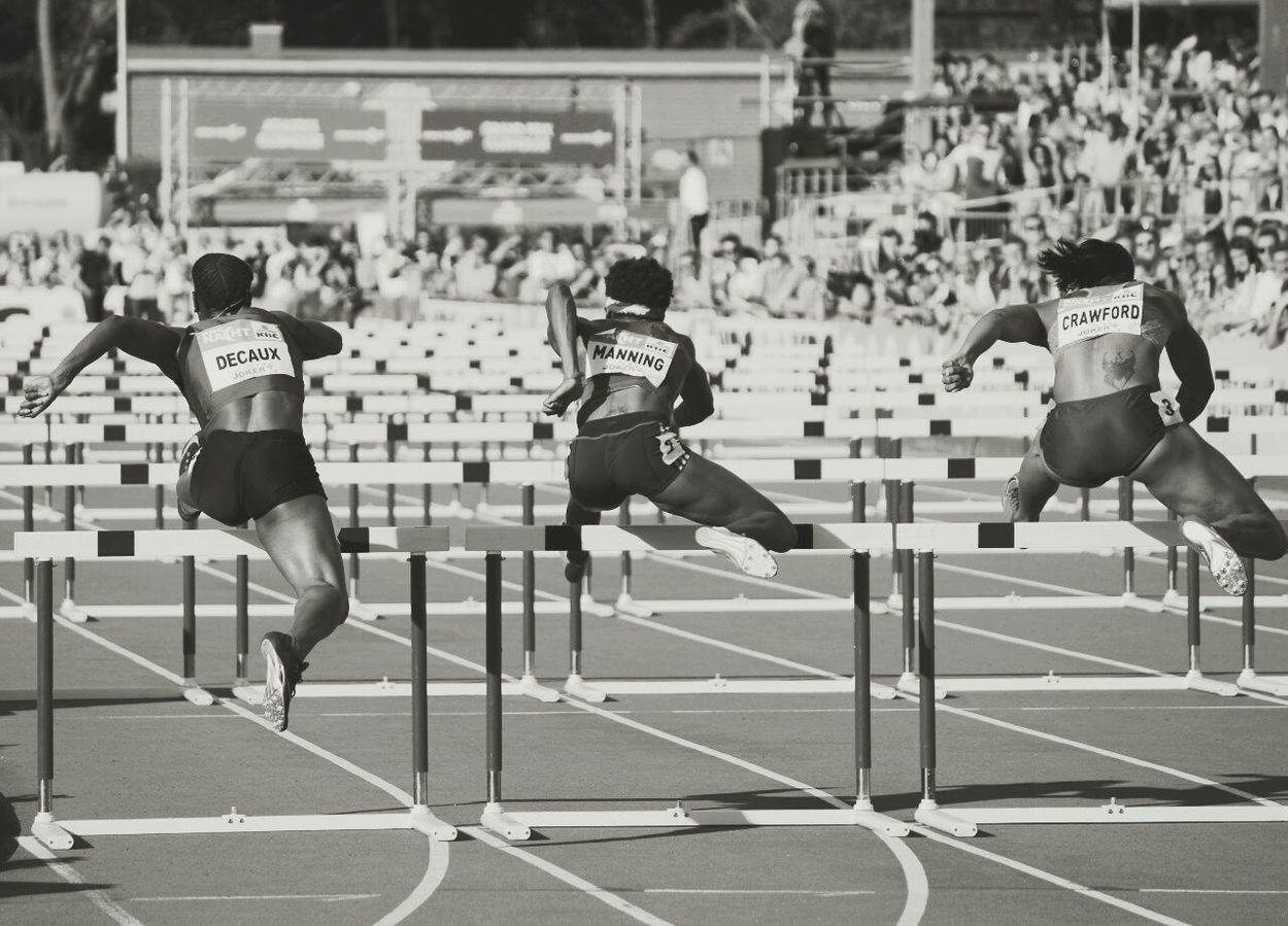 Athletics Hurdles Running Track Athletes Energetic Sports Photography Sports Learn & Shoot: Balancing Elements Motion Run Athlete Athletic Healthy Black & White Blackandwhite Black And White Monochrome People People Watching Portrait Jump Outdoors Outside Event