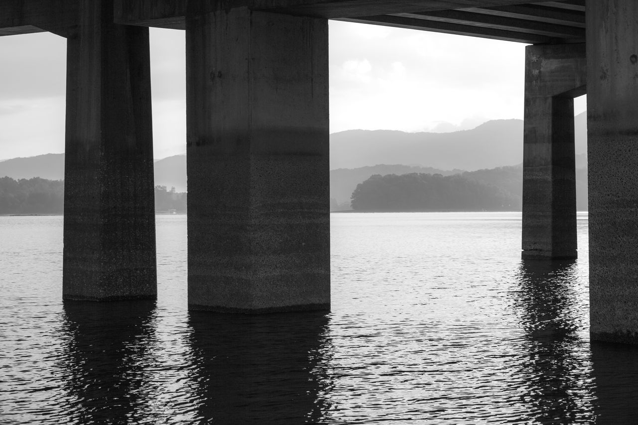 Architectural Column Architecture Beauty In Nature Below Blackandwhite Built Structure Day Lake Lake Chatuge Monochrome Mountains Nature No People Outdoors Reflections Scenics Sky Underneath Water