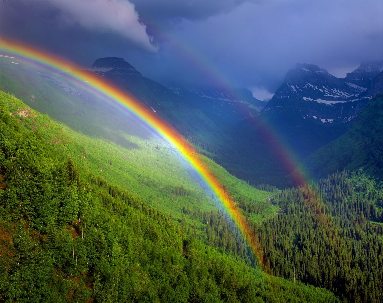 rainbow, beauty in nature, nature, weather, scenics, mountain, double rainbow, tranquil scene, tranquility, no people, landscape, cloud - sky, outdoors, multi colored, sky, day, spectrum