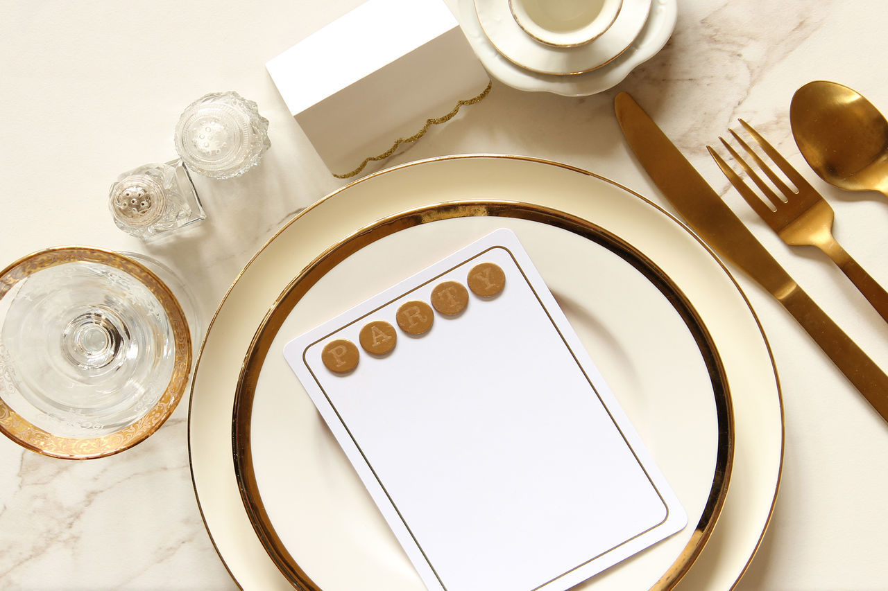 table, high angle view, no people, directly above, indoors, plate, close-up, white background, day