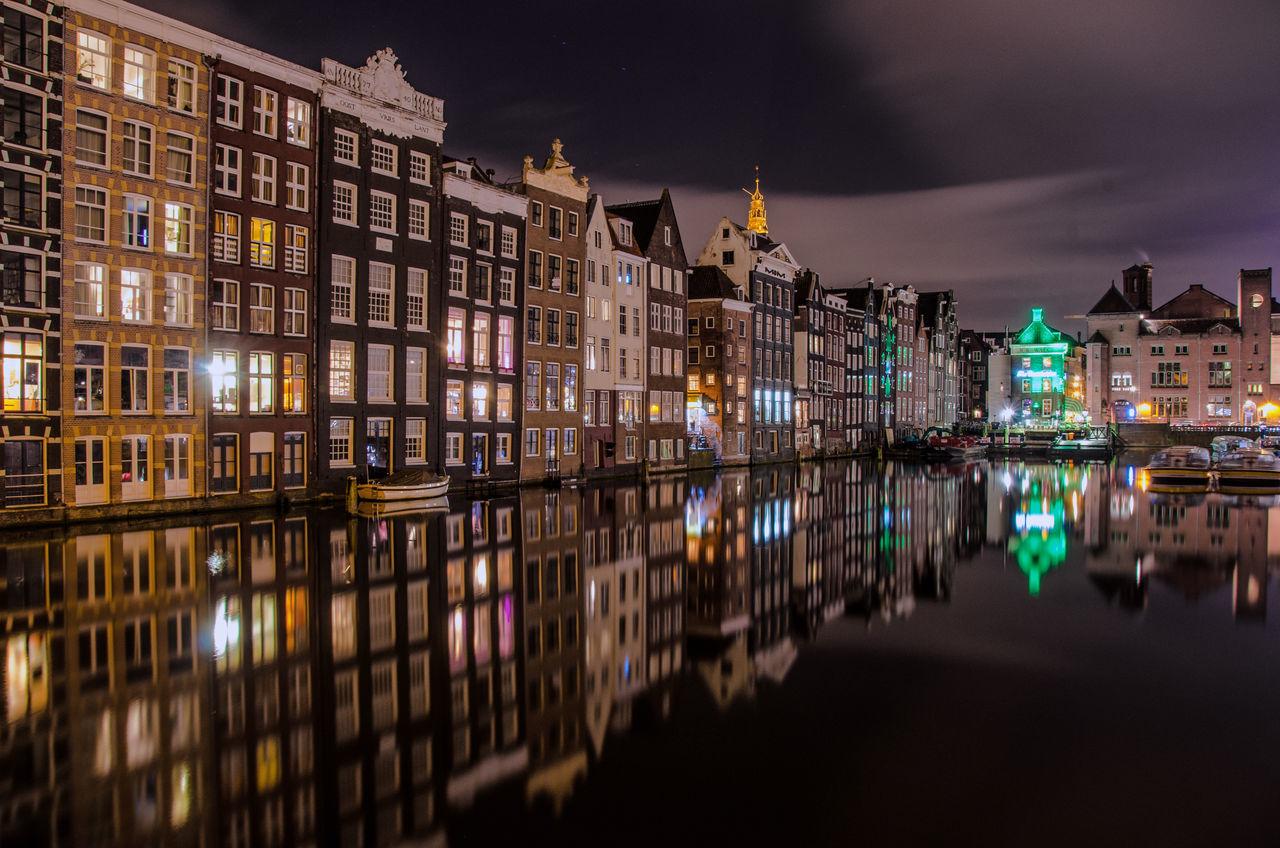Amsterdam Architecture Damrak Amsterdam Illuminated Mirrored Reflection Night No People Outdoors Reflection