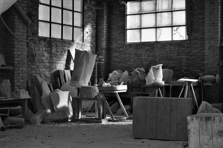 Sunday's rest for ever Abandoned Art And Craft Black And White Canvas Art Carrara Closed Craft Day Ghost Laboratory Marble Statue