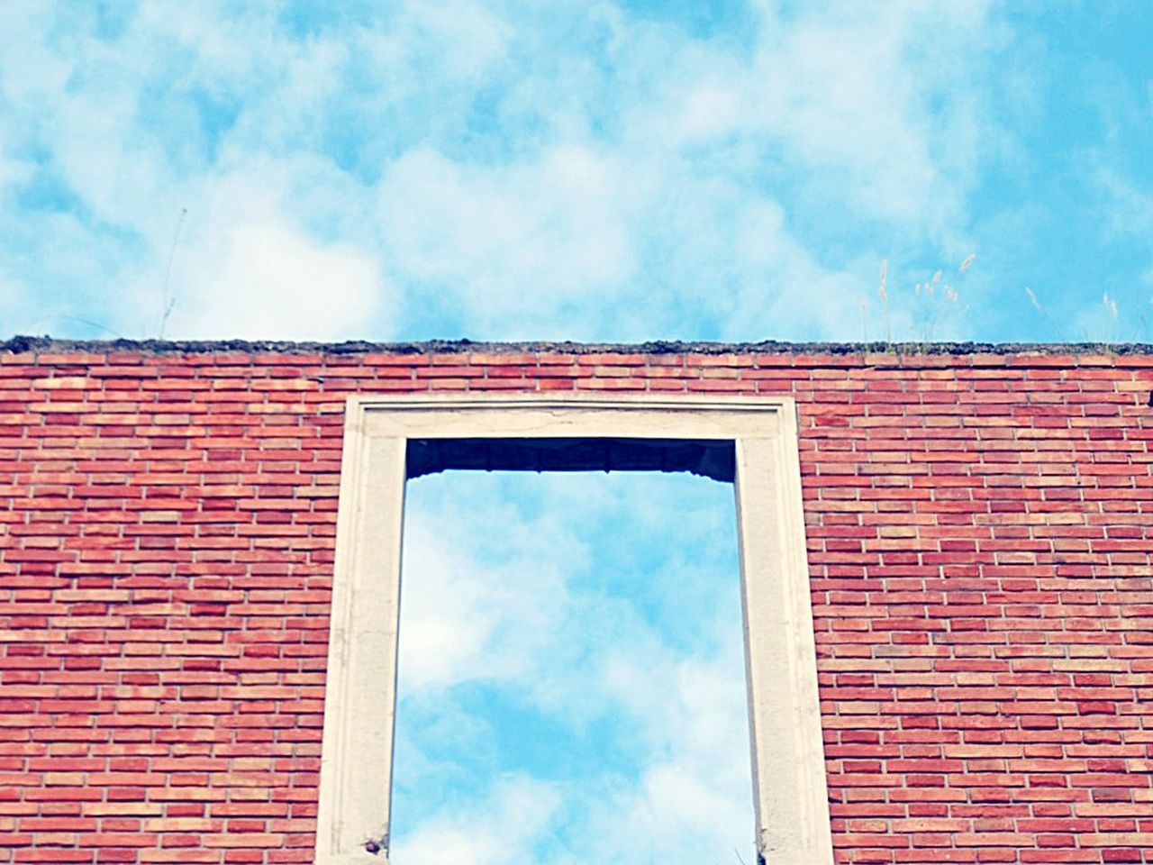 brick wall, building exterior, cloud - sky, architecture, built structure, sky, low angle view, window, day, outdoors, no people, close-up
