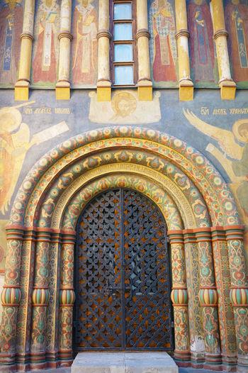 2014 Arch Architecture Door Fresco Kremlin Moscow Russia Uspenski Cathedral Uspenskiy Sobor World Heritage ウスペンスキー聖堂 モスクワ ロシア