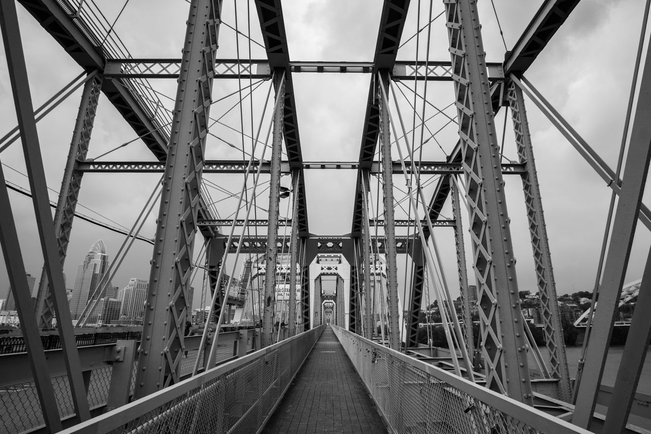 Purple People Bridge Architecture Black And White Bridge Bridge - Man Made Structure Building Exterior Built Structure C Connection Day Diminishing Perspective Empty Incidental People Metal No People Outdoors Purple People Bridge Rail Transportation Railing Railroad Track Sky The Way Forward Transportation Vanishing Point First Eyeem Photo