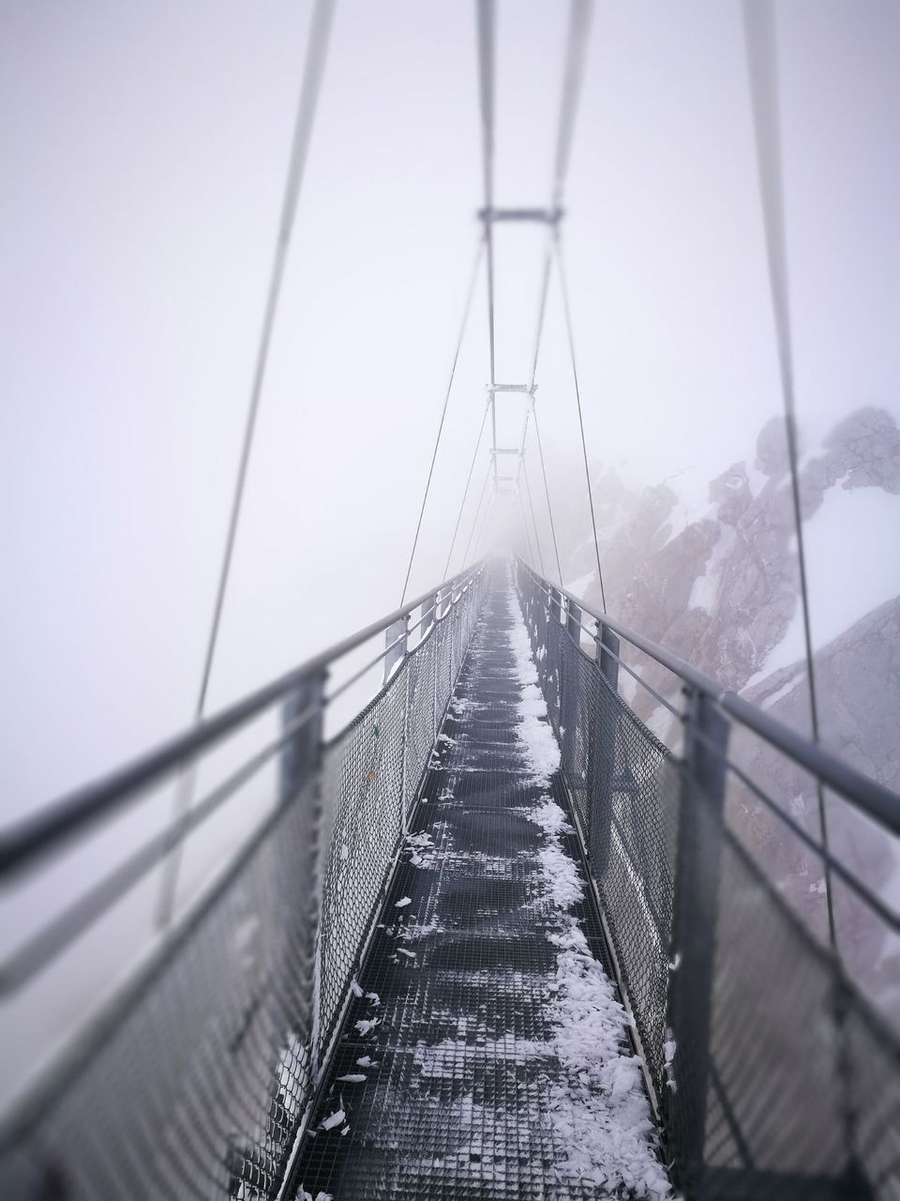 Connection No People Bridge - Man Made Structure Outdoors Day Snow Winter Cold Temperature Mountain Dachstein Nature Sky Fog Cloud - Sky Bridges
