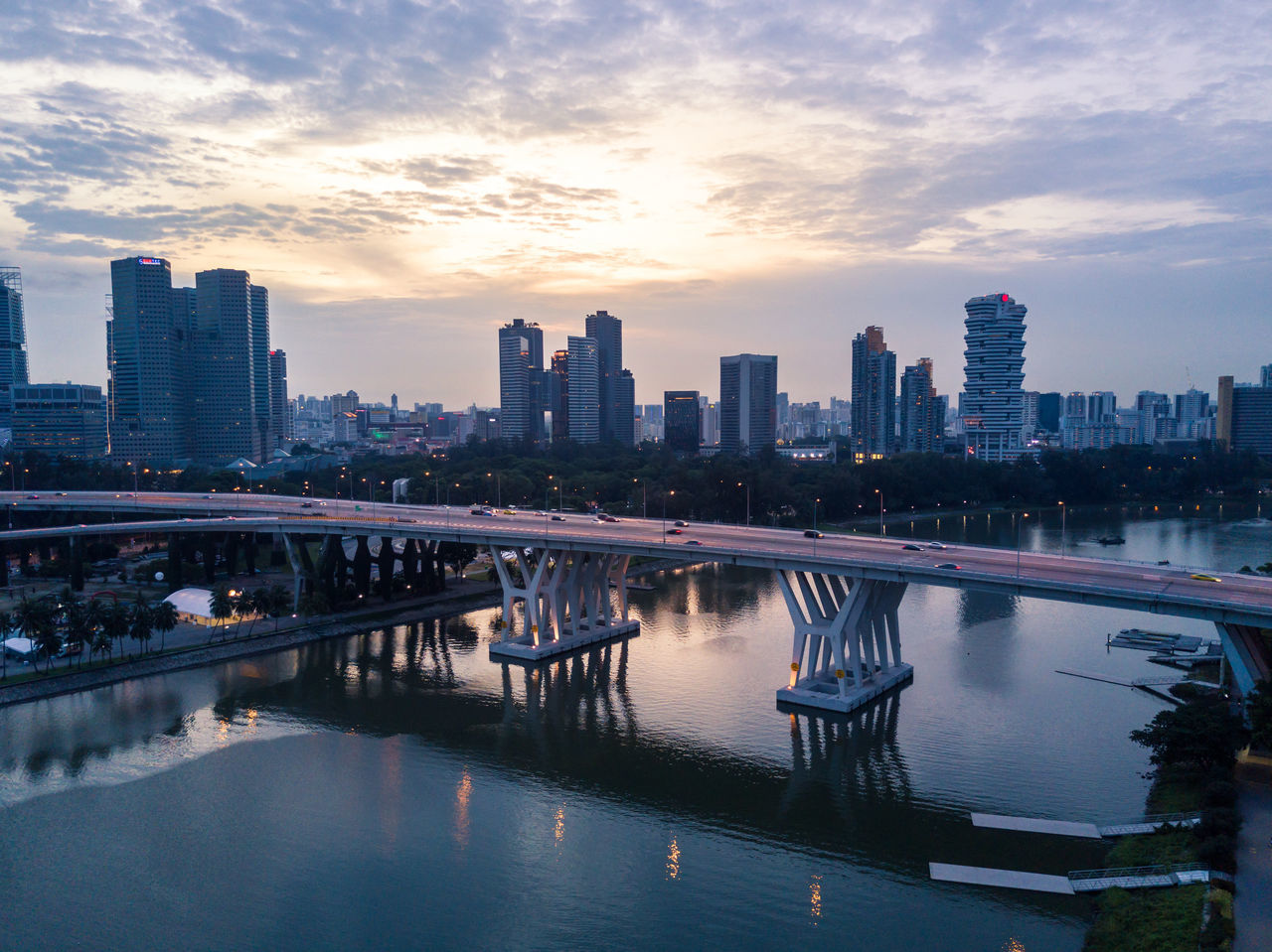 Architecture ASIA Bridge - Man Made Structure Building Exterior Built Structure City Cityscape Cloud - Sky Connection Day Drone  Modern Nature No People Outdoors Reflection River Singapore Sky Skyscraper Sunset Urban Urban Skyline Water Waterfront