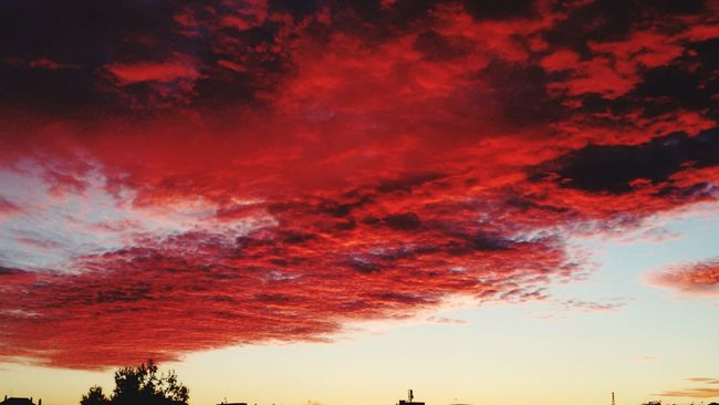 Amazing sky today Low Angle View Scenics Sunset Beauty In Nature Sky Cloud - Sky Dramatic Sky Cloudscape Red Majestic Cloud