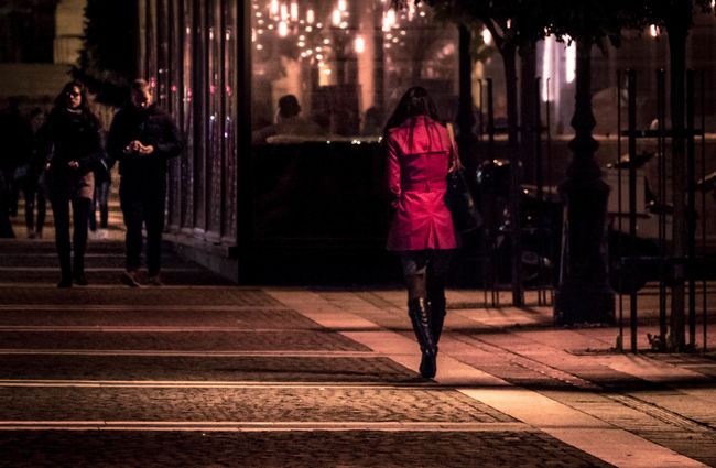 Budapest, Hungary Fashion Illuminated Modern Night Nightlife Only Women People Person Red Red Dress Woman In Red