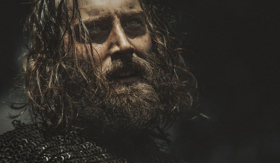 A viking warrior tired after a battle on a hot summer day Army Battle Battlefield Beard Chainmail Close-up Expressive Eyes Are Soul Reflection Fatigue  Fighter Headshot Heat Hot Long Hair Medieval Open Mouth Portrait Slackline Summer Sunburnt Sunlight Tired Viking Warrior Young Adult