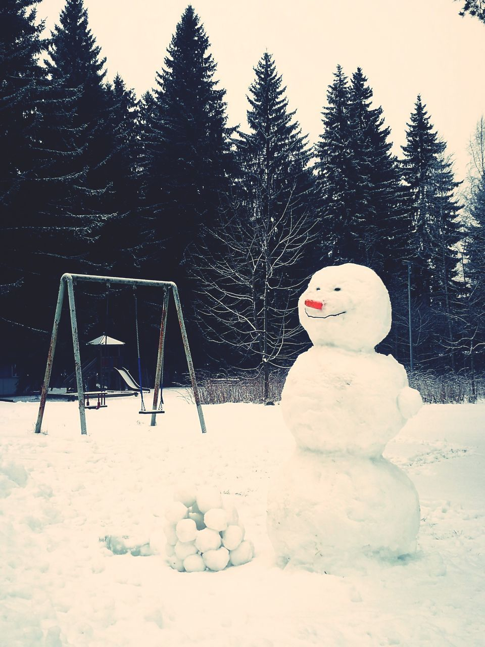 snow, winter, cold temperature, weather, tree, snowman, human representation, no people, frozen, nature, outdoors, day, beauty in nature, sky, warm clothing, close-up