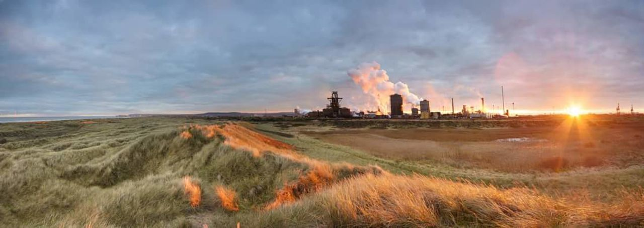 Steel Works Seascape Sunset Panorama