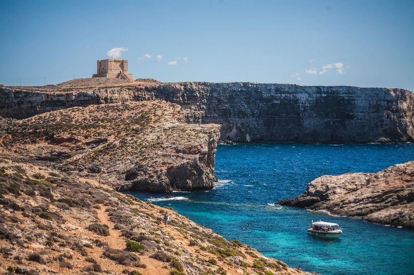 Crystal Bay Malta Travel Amazing Cliff Comino Day Lagoon No People Outdoors Paradise Rocks And Water Sea