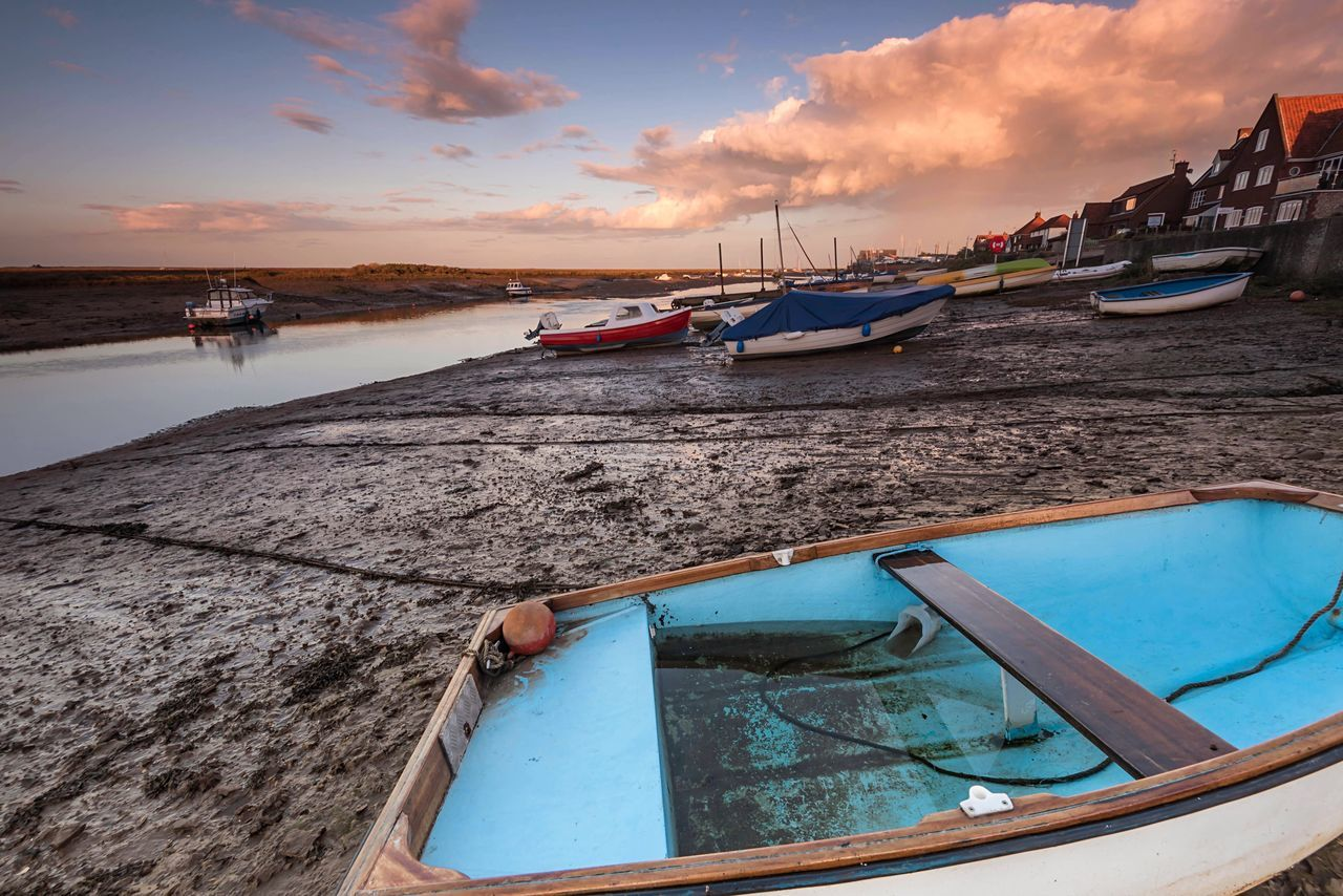 Grounded Nautical Vessel Water Moored Transportation Mode Of Transport Sea Boat Sky Nature Cloud - Sky Outdoors Beach Tranquility Beauty In Nature Scenics Sunset No People Day Harbor Horizon Over Water Norfolk Wells-next-the-Sea North Norfolk Harbour Low Tide