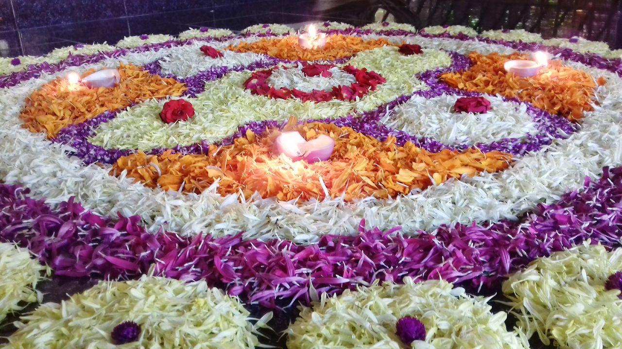 Onam pookkalam Art Multi Colored High Angle View Decoration Flower Celebration Event Freshness Day Onamspecial🌺🌻🌺Onam 2016 Onam,pookalam