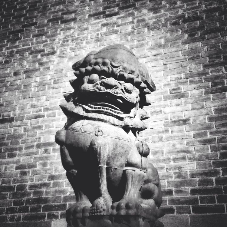 National holiday in Datong City. 6. Datong City Shanxi Province Stone Lion City Wall Blackandwhite Streetphotography