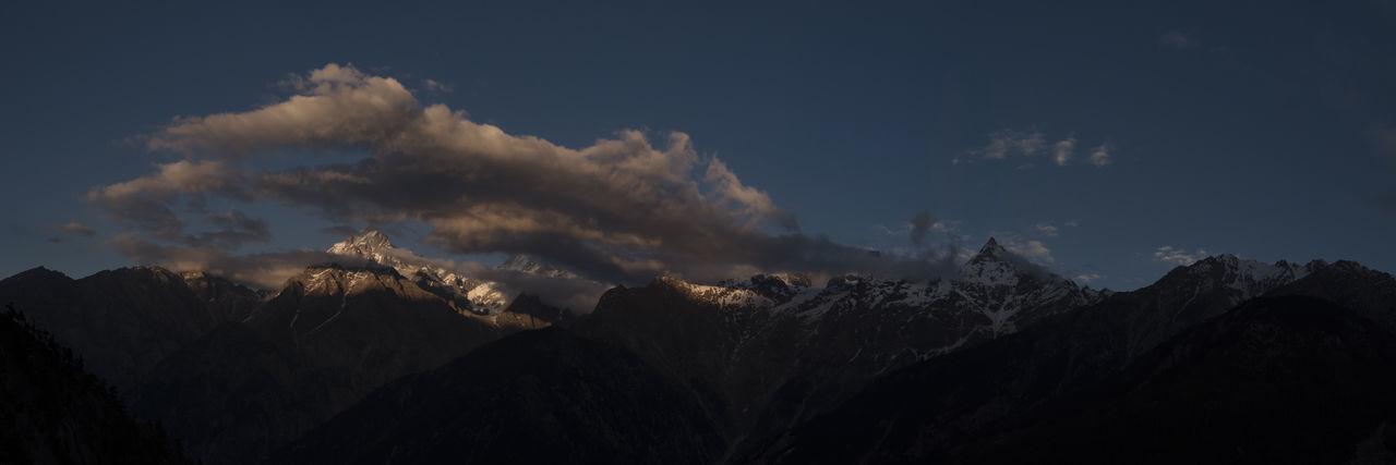 Sunset view of Mount Kinner Kailash range at Kinnaur, Himachal Pradesh. Himachal Pradesh, India Himalayas Kinnaur Spiti Valley India Travel Beauty In Nature Clouds Day Forest Fire Kinner Kailash Landscape Mountain Mountain Peak Mountain Range Nature No People Outdoors Scenics Sky Spiti Sunset