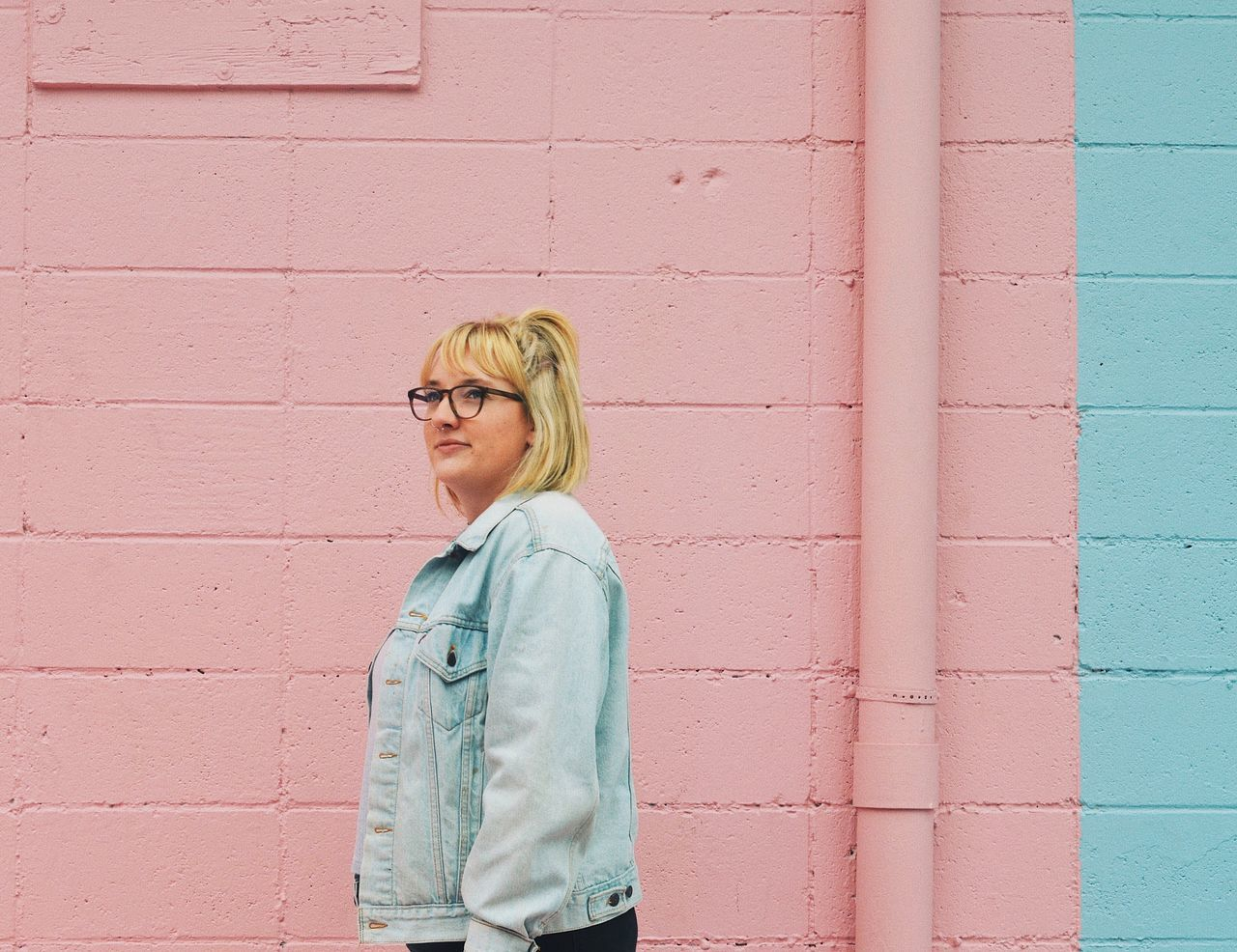Cotton candy and eye candy Blond Hair Standing Eyeglasses  Sunglasses Brick Wall One Person Day Outdoors People Color Adventure Folk Girl Millennial Pink