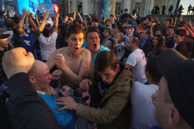 "FC ""Zenit"" fans celebrating 90th anniversary of lovely football team Zenit Football Fans зенит болельщик фанаты The Moment - 2015 EyeEm Awards"