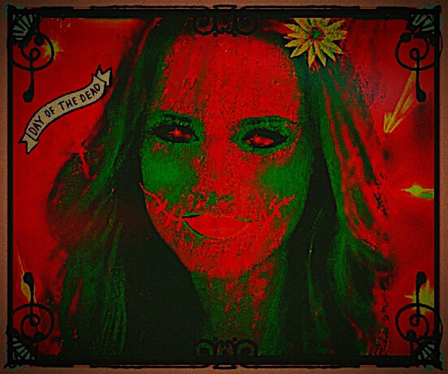 Red Portrait Looking At Camera Close-up Digital Manipulation Digitalart  Digital Art Illustration Human Representation Eye Em Best Shots Digital Imaging Creativity Vibrant Color Auto Post Production Filter EyeEm Best Edits EyeEmBestEdits Eyeemphotography Smiling Multi Colored Abstract Mardi Gras Mask  Dayofthedead Dayofthedeadmakeup Dayofthedeadtattoo Tattoos