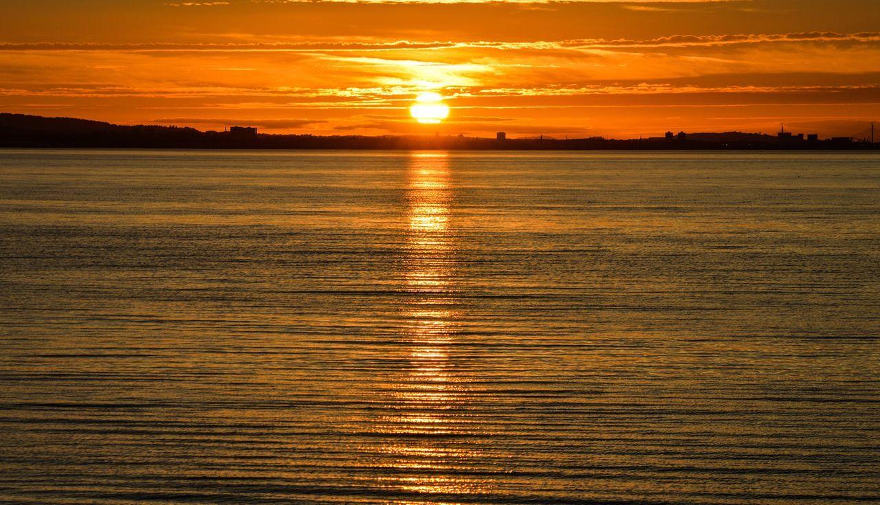 Coastal Sunset Sunset Scenics Orange Color Sun Tranquility Idyllic Water Nature Sea Musselburgh