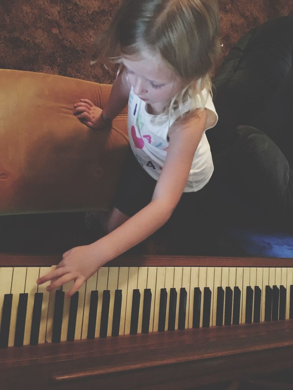 Child Childhood Indoors  Leisure Activity High Angle View Looking Down Piano Piano