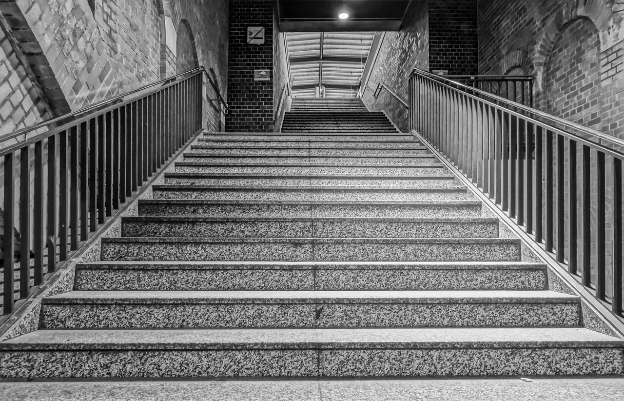 Architecture B&w B&w Street Photography Berlin Berlin Photography Berliner Ansichten Best Of Stairways Black And White Day Indoors  Low Angle View No People Railing Staircase Stairs Stairs_collection Steps Steps And Staircases The Way Forward Urban Exploration