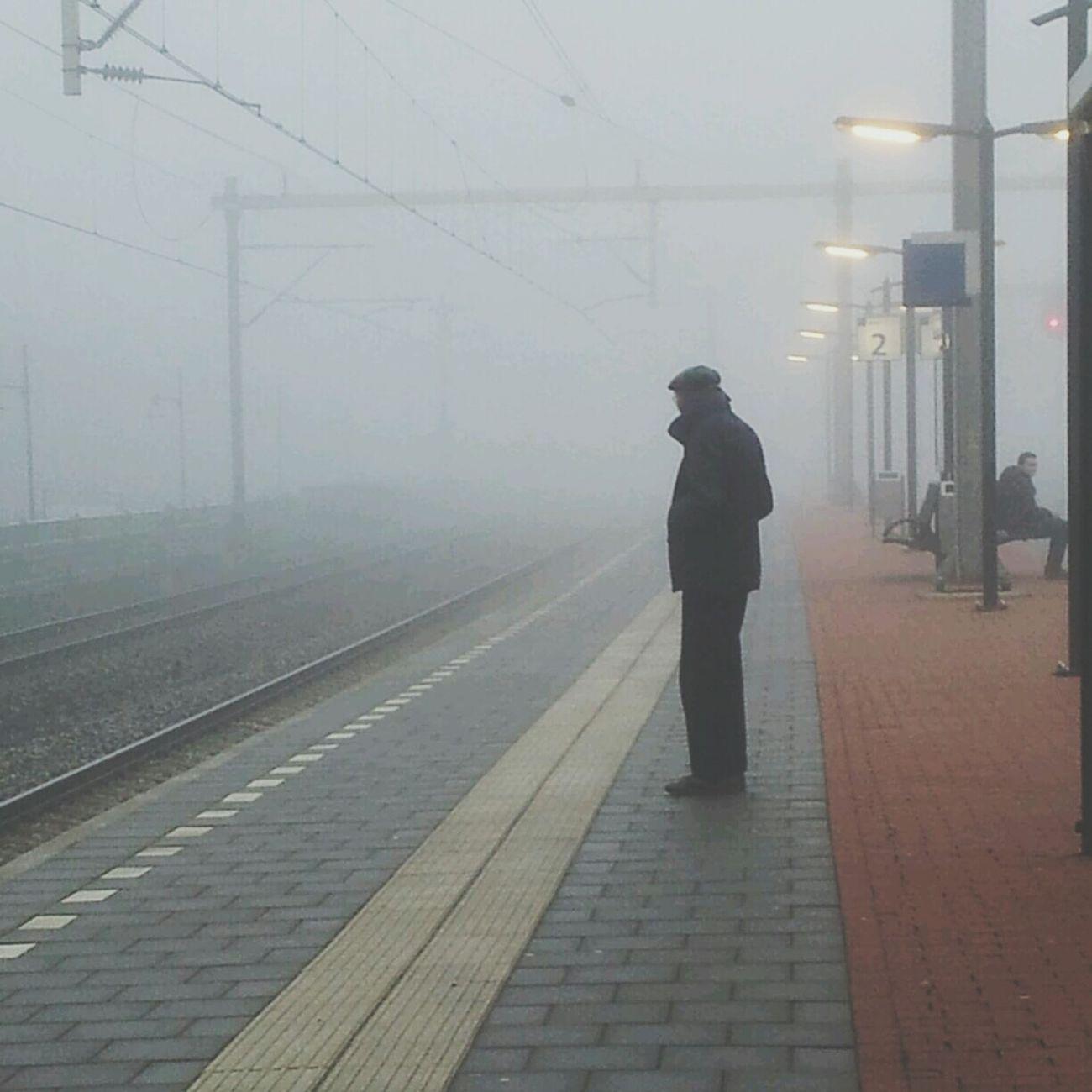 Waiting For A Train Mist Fog Alone