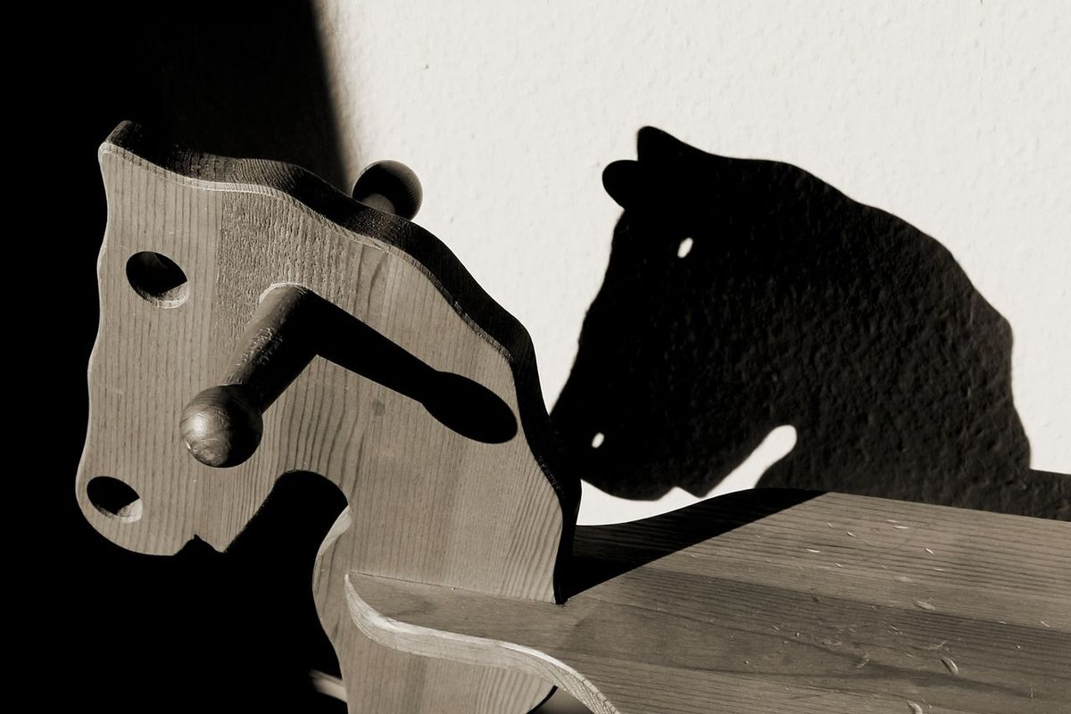 Creative Light And Shadow Vintage Light And Shadow Rocking Horse Black And White Photography Rockinghorse Shadows On The Wall Made Of Wood