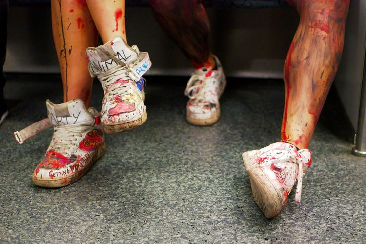 after action Action After Blood Break Close-up Colored Day Grunge Human Body Part Human Foot Human Leg Indoors  Lifestyles Low Section Metro Painted People Strassenfilm Rest Shoe Sports Urban Women Live For The Story