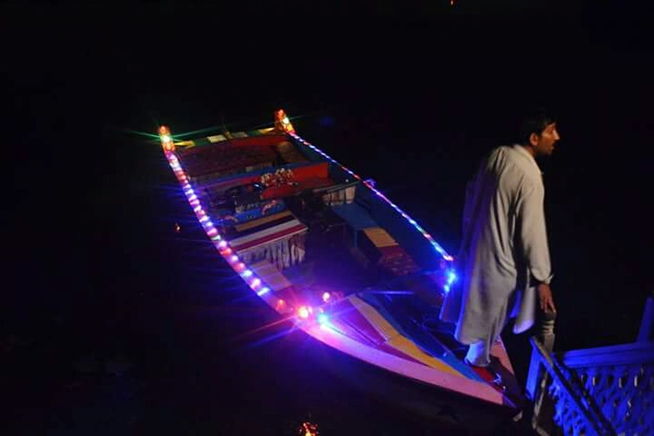 Srinagar Kashmir Illuminated Night Burning Outdoors Performance Nightlife In Front Of Spotlight Boat