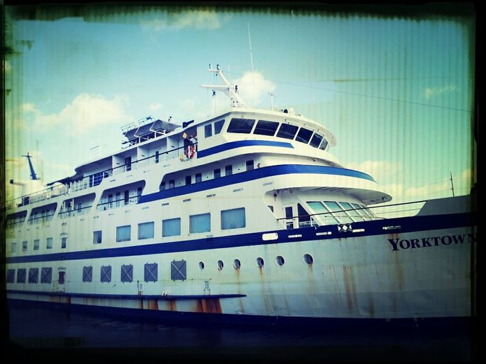 The ship I worked on for the 2nd time different company. Previously known as Spirit Of Yorktown with Cruise West and before its retrofit and paint job now just Yorktown with Travel Dynamics. Currently seized by a german bank because of cash problems... Yorktown