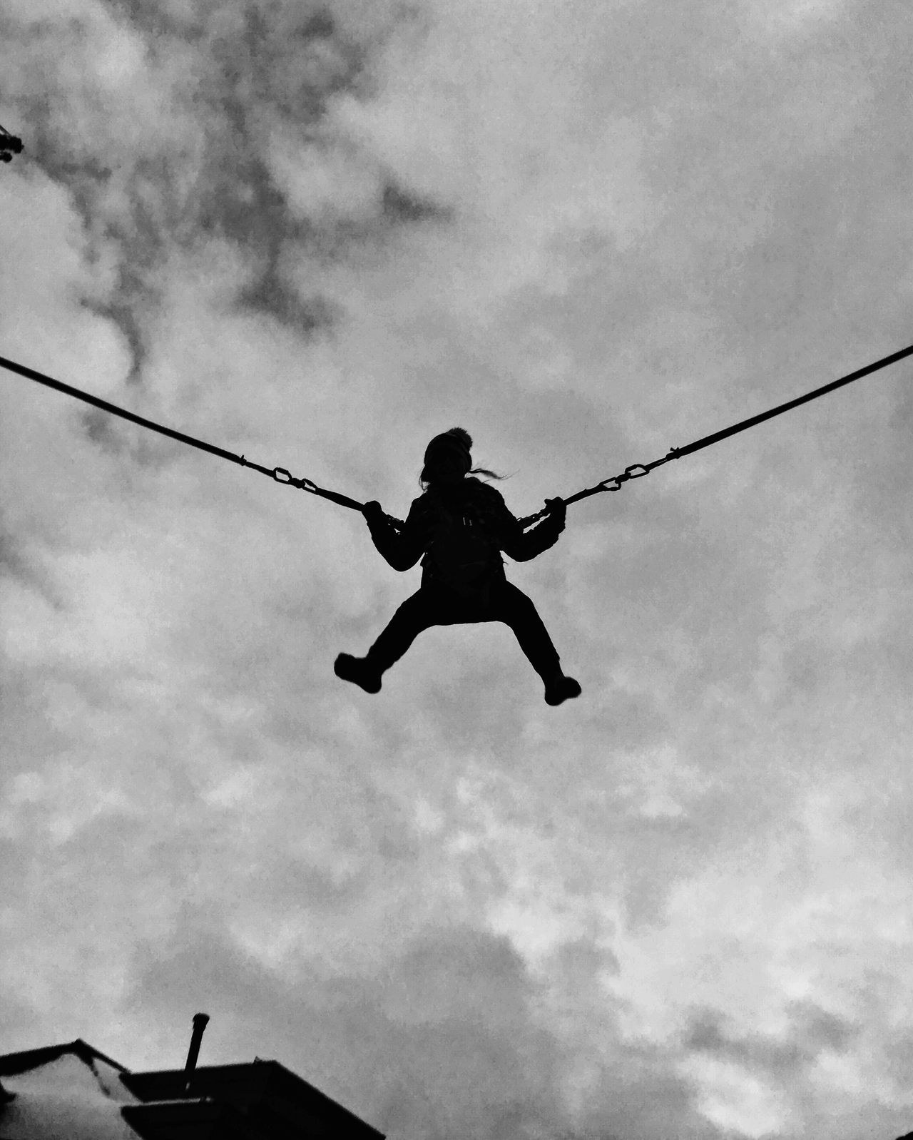 Sky Low Angle View Real People Mid-air One Person Outdoors Cloud - Sky Day Swing Jumping Black & White Leisure Activity Low Angle View