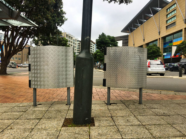 Twin rubbish bins in the city Car City City Rubbish Footpath Garbage Bins Metal Bins Metal Rubbish Bins No People Outdoors Rubbish Bins Sidewalk Urban Urban Photography