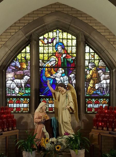 Religion Window Indoors  Spirituality Place Of Worship Day Multi Colored Architecture No People stained glass chapel church Jesus Vigin Mary Saint Joseph holy family