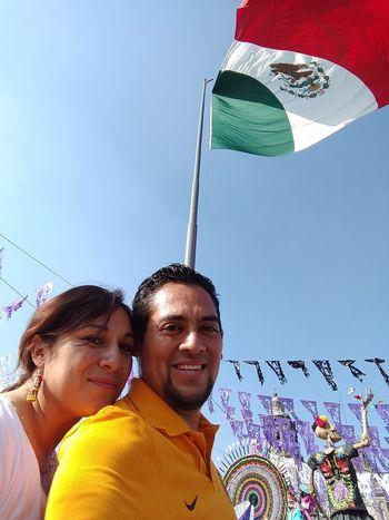 Two People Smiling Sky Happiness Young Adult Portrait Mexico City Bandera De Mexico Dia De Muertos México