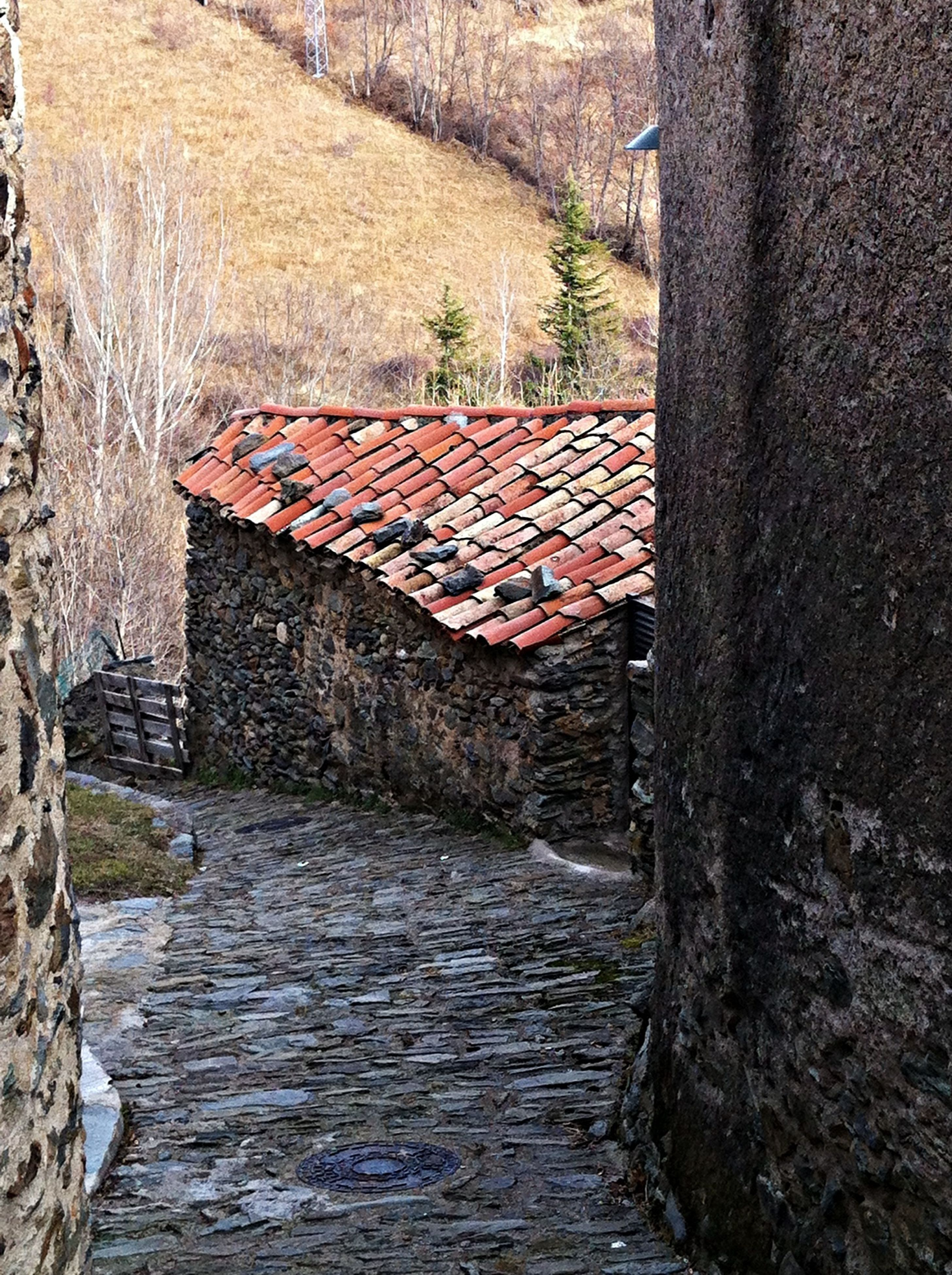 the way forward, architecture, built structure, building exterior, house, narrow, stone wall, walkway, wall - building feature, steps, footpath, day, pathway, brick wall, diminishing perspective, water, cobblestone, outdoors, old, no people