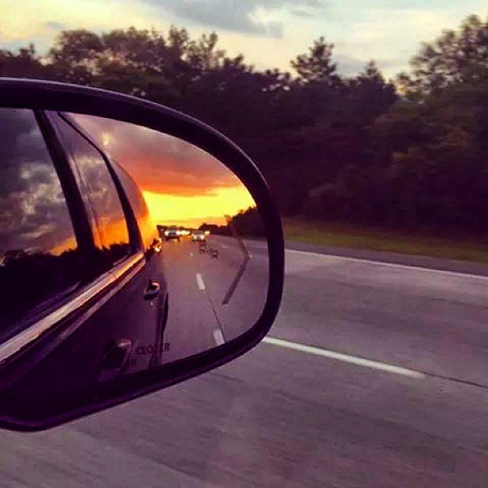 NeverLookBack Forgetthepast Forgettheworld Rearview mirror sky sunset sun NiceDay regram evening DontTellEm SendingLove MakeAWish TakeAChance MakeAChange breakaway kiss