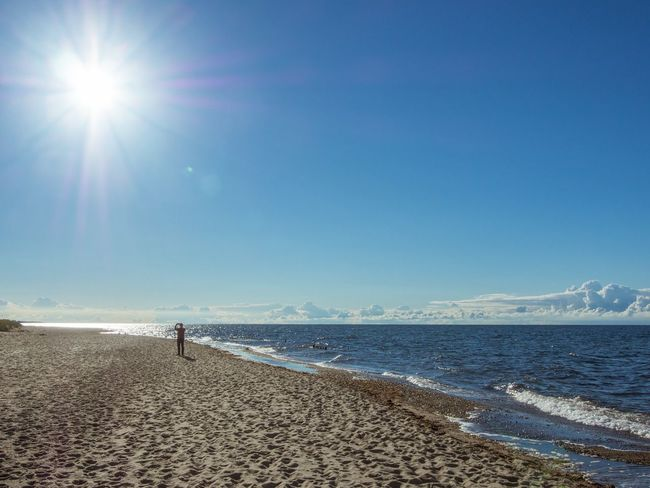 Sunshooter Sea Beach Lens Flare Sunbeam Water Calm Beauty In Nature Sun Sunlight Sand Tranquil Scene Scenics Blue Tranquility Summer Idyllic Shore Coastline Majestic Nature Ostsee Kühlungsborn