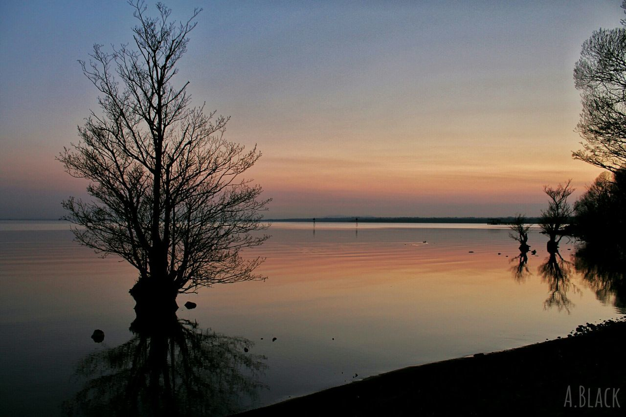 sunset, silhouette, beauty in nature, scenics, tree, tranquil scene, tranquility, nature, water, sky, reflection, bare tree, lake, outdoors, no people, landscape, day
