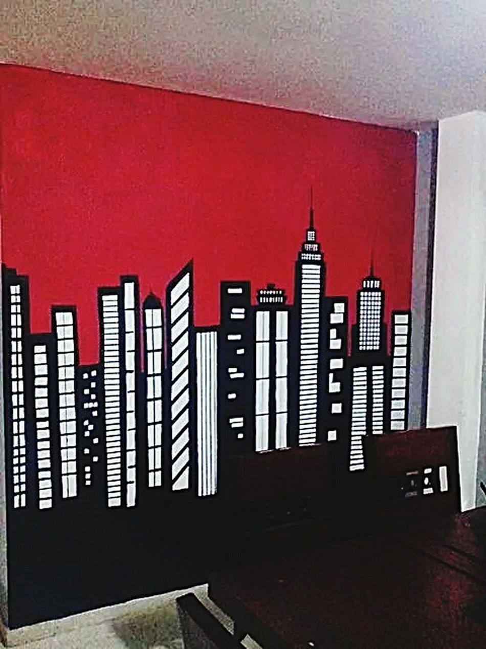 Red No People Indoors  Day Wallart Wall Murals NYC MadebyMe ☝✌ Painteditmyself Mywallmural Diningroom ArtWork Architecture